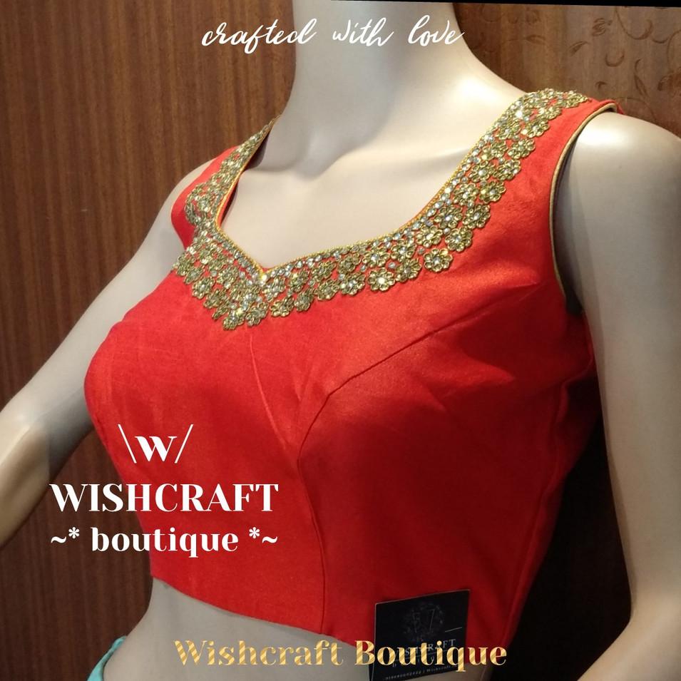 172 Red sleeveless kundan blouse -side.j