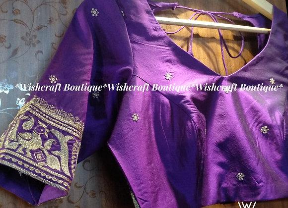 Beautiful Purple Blouse with jari handwork. Wishcraft Boutique #335
