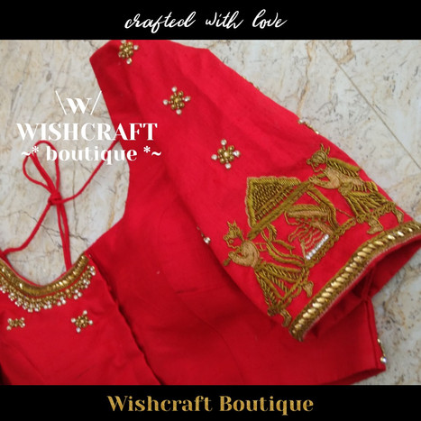 185 Designer Red Bridal Blouse with Palk