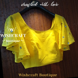 Yellow Saree Blouse with mirror work sle