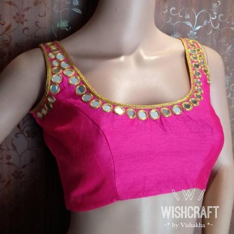 320 - trendy mirror work saree blouse