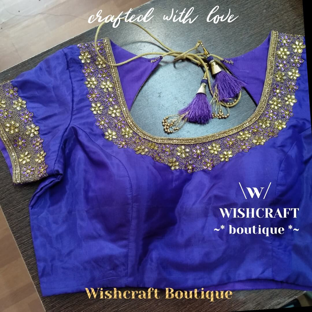 Purple blouse with kundan work - saree b