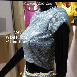 Silver saree blouse - partywear high nec