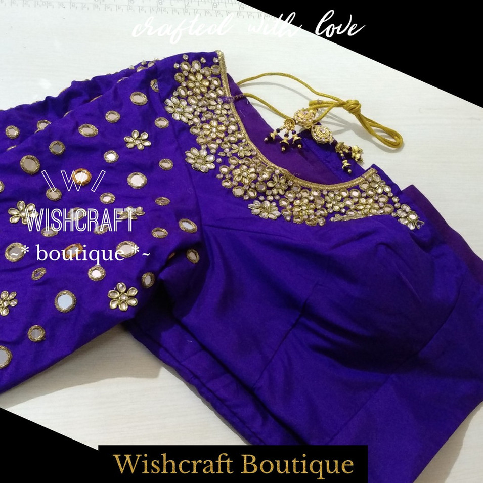 191 designer saree blouse with mirror an