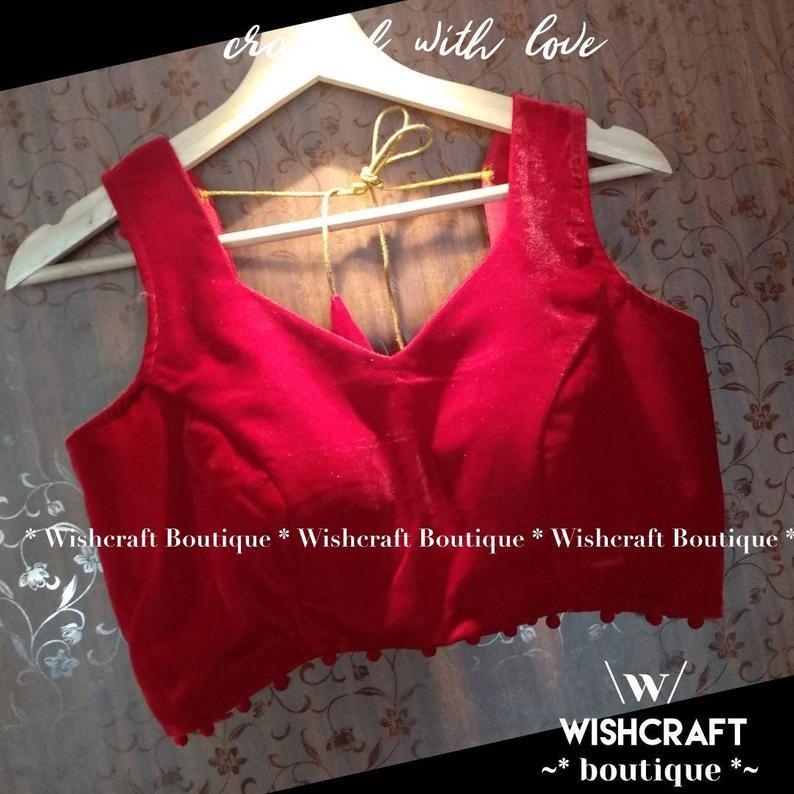 311 Red velvet sleeveless blouse - back.
