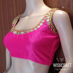 pink-blouse-with-mirror-work-sleeveless-