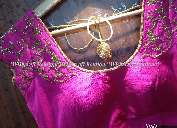 Pink Designer Saree Blouse with trendy handwork