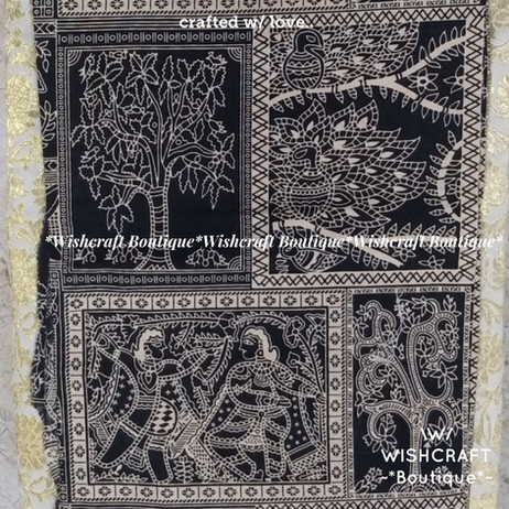cotton print fabric - biack - wishcraft.