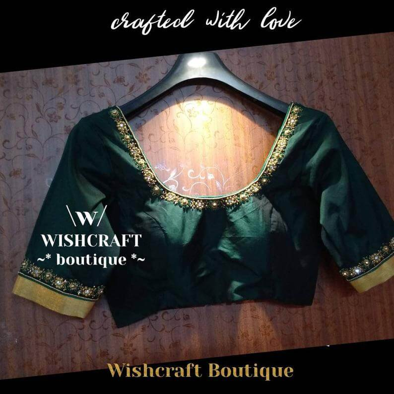 bottle-green-blouse-with-beads-work-sare