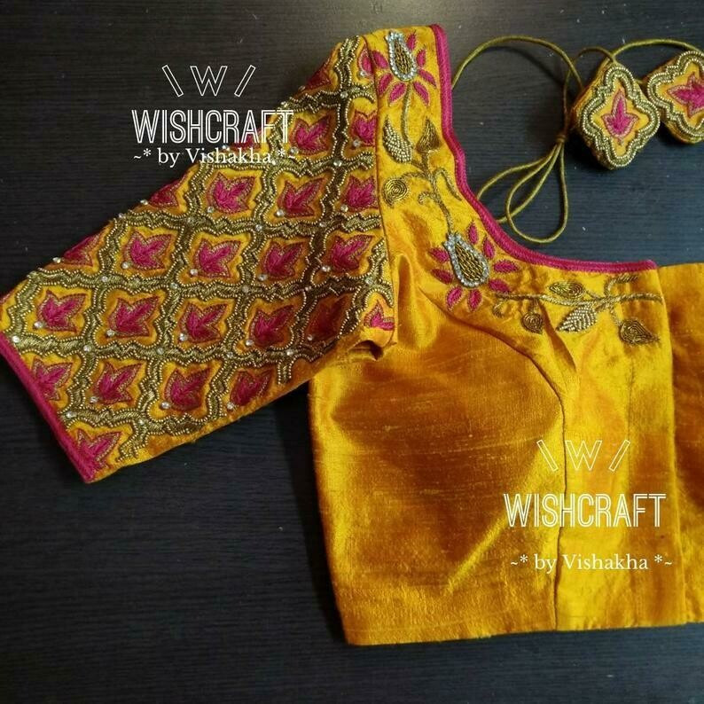 106 designer maggam work blouse in musta
