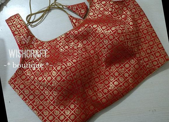 Trendy Sleeveless Red Saree Blouse in Banaras Fabric #189