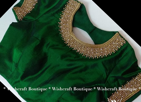 HIgh neck blouse with beautiful maggam work. Blouse Design 237