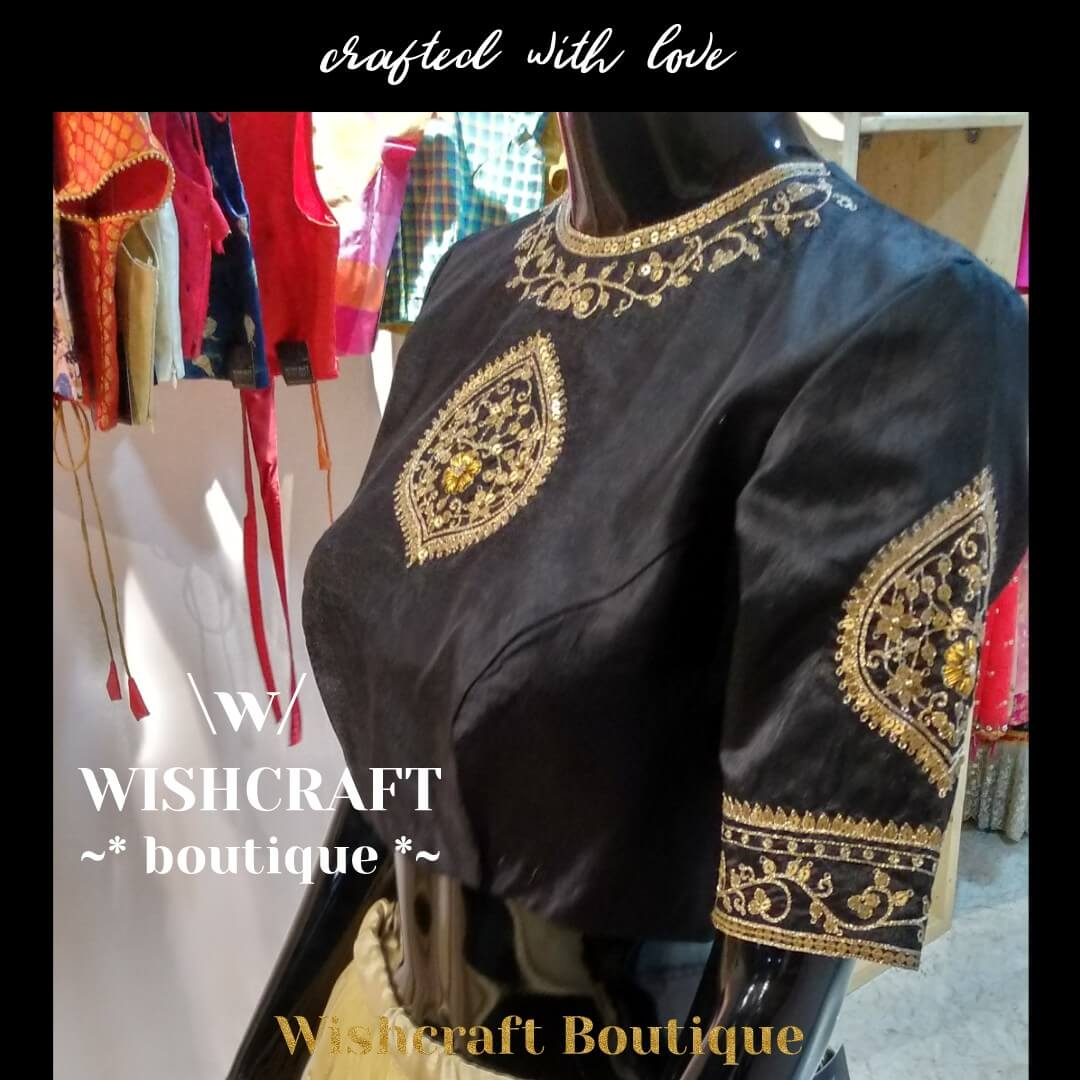 Black saree blouse with maggam work - bl