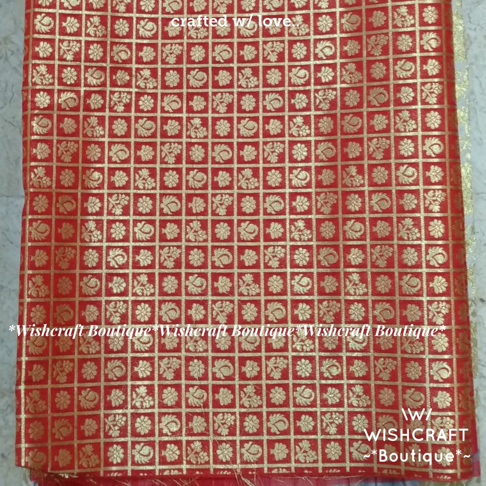 Red Banaras Fabric 1 - wishcraft boutiqu