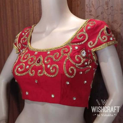 Red saree blouse - blouse design 141 A