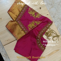 pink blouse - pattu saree blouse design