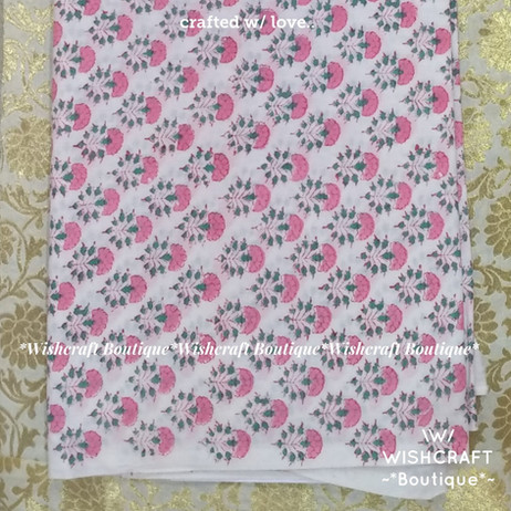 cotton print fabric - white with floral