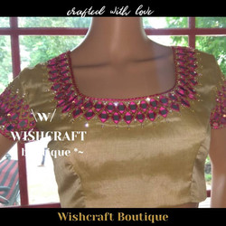 Golden saree blouse with mirror work - b