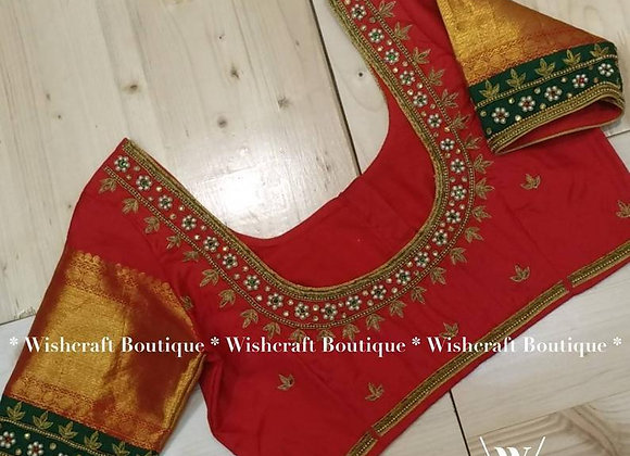 Saree Blouse with handwork - festive wear Indian blouse 310