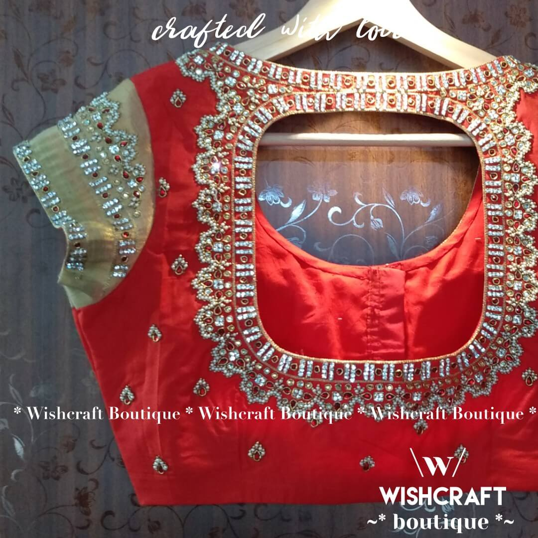 Red-blouse-with-pearl-work-design-236-ba