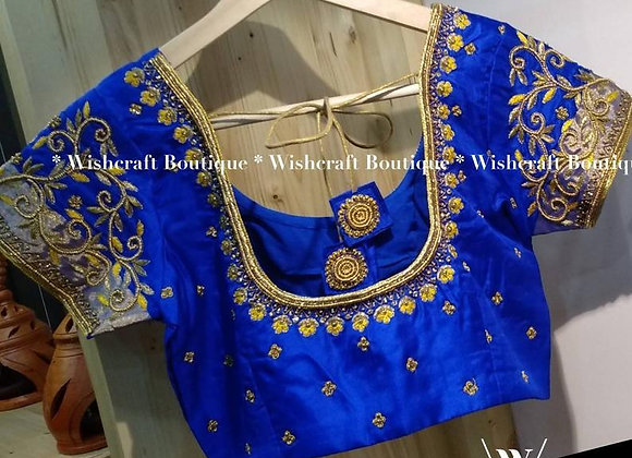 Blue Saree Blouse with Jari and Beads Handwork. Indian Blouse 308