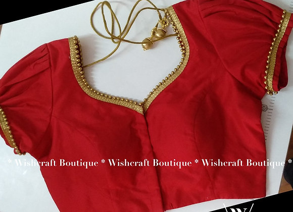 Red Saree Blouse with puff sleeves and lace border. Indian Blouse 207