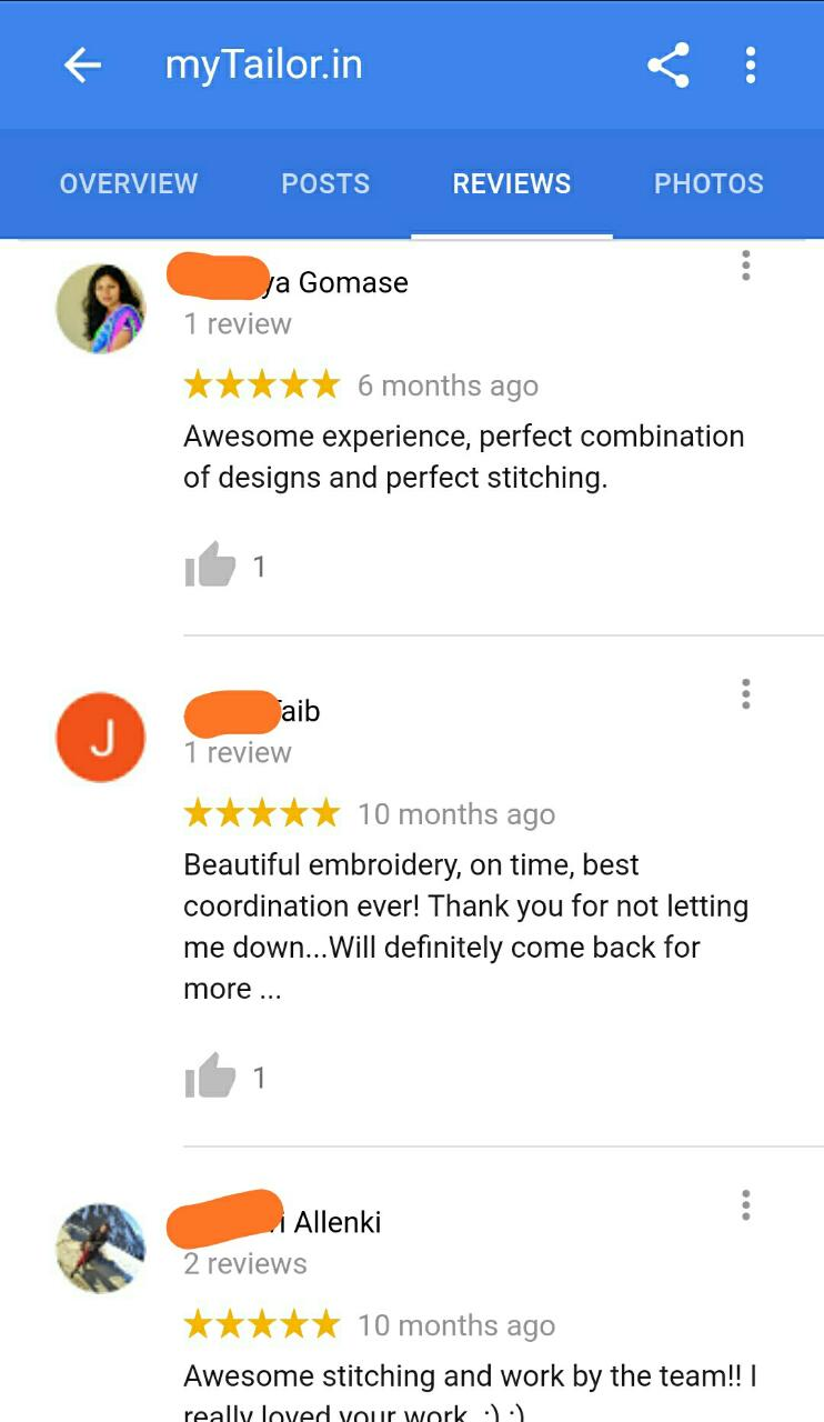 mytailor.in reviews by customers India