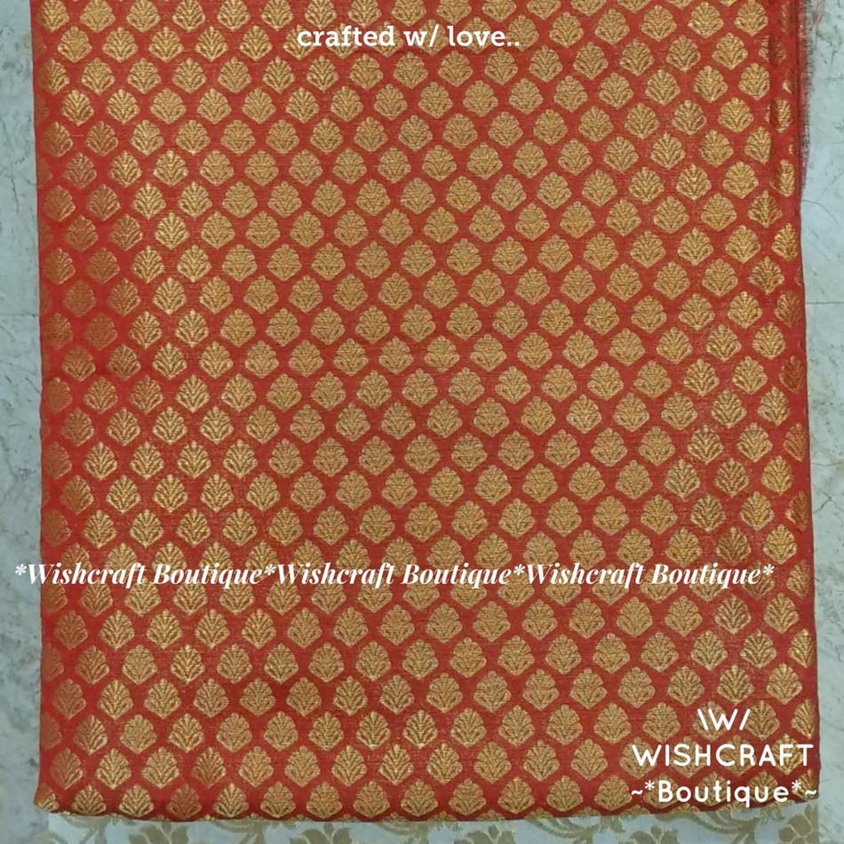Red Banaras fabric 2 - wishcraft boutiqu
