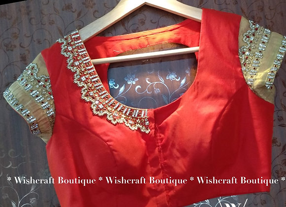 Red Saree Blouse with trendy handwork. Indian Blouse Design 236