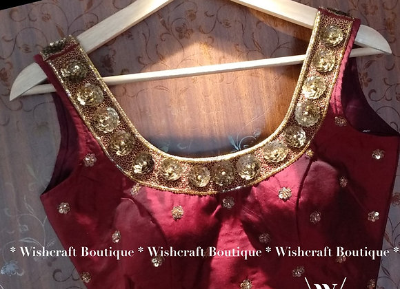 Maroon Sleeveless Blouse with trendy handwork. Indian Blouse 231