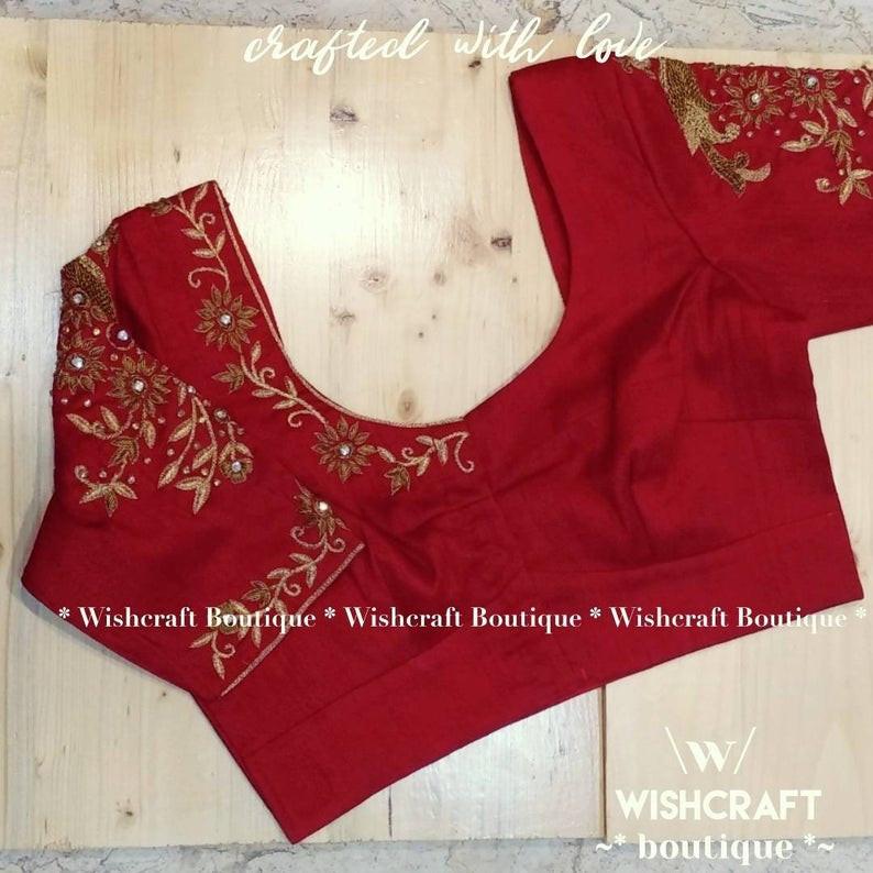303 designer work blouse in red front.jp