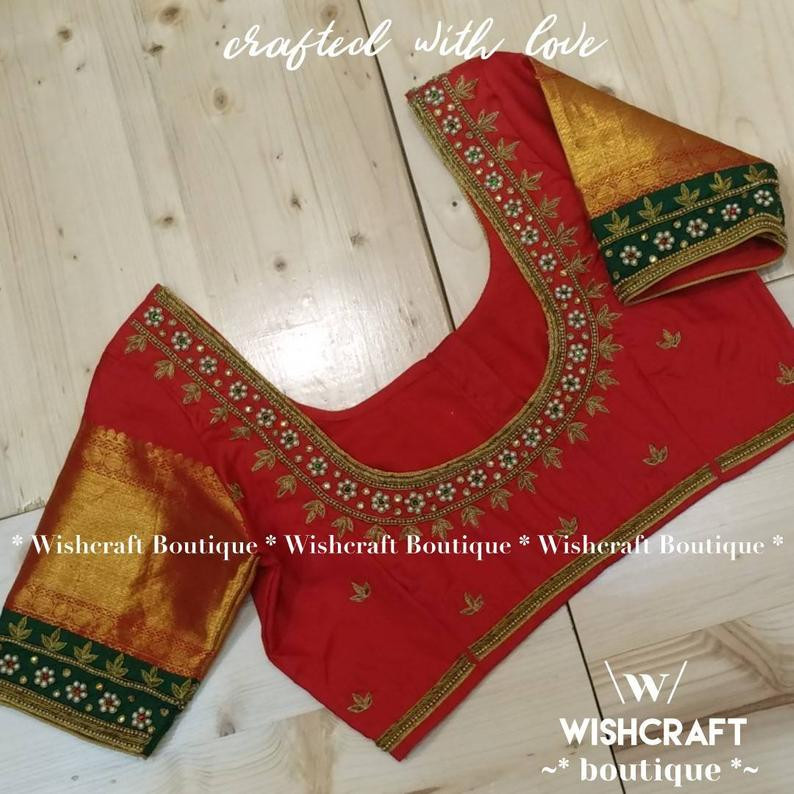 310 red blouse with beautiful handwork -