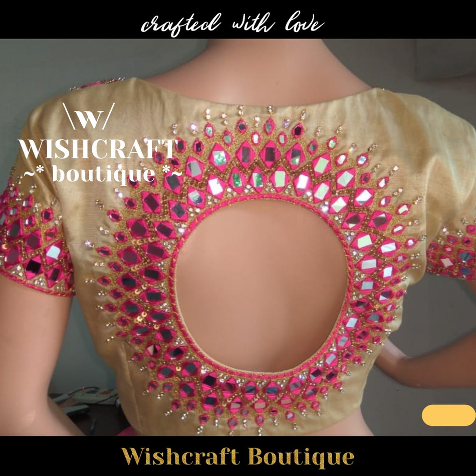 180 - mirror work blouse design mytailor