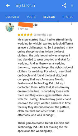 mytailor.in review by Rachna Goa
