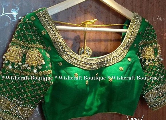 Bridal Saree Blouse with traditional maggam work embroidery.