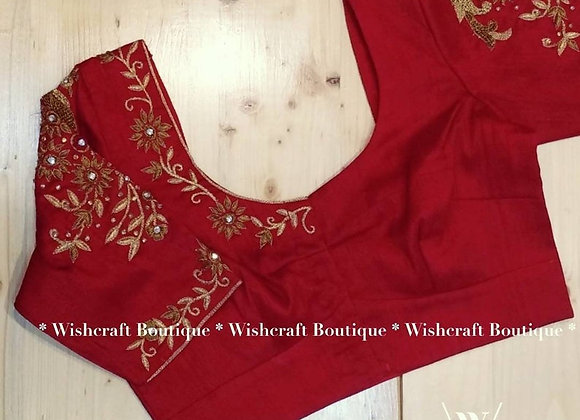 Red Blouse with trendy handwork. Designer Saree Blouse 303