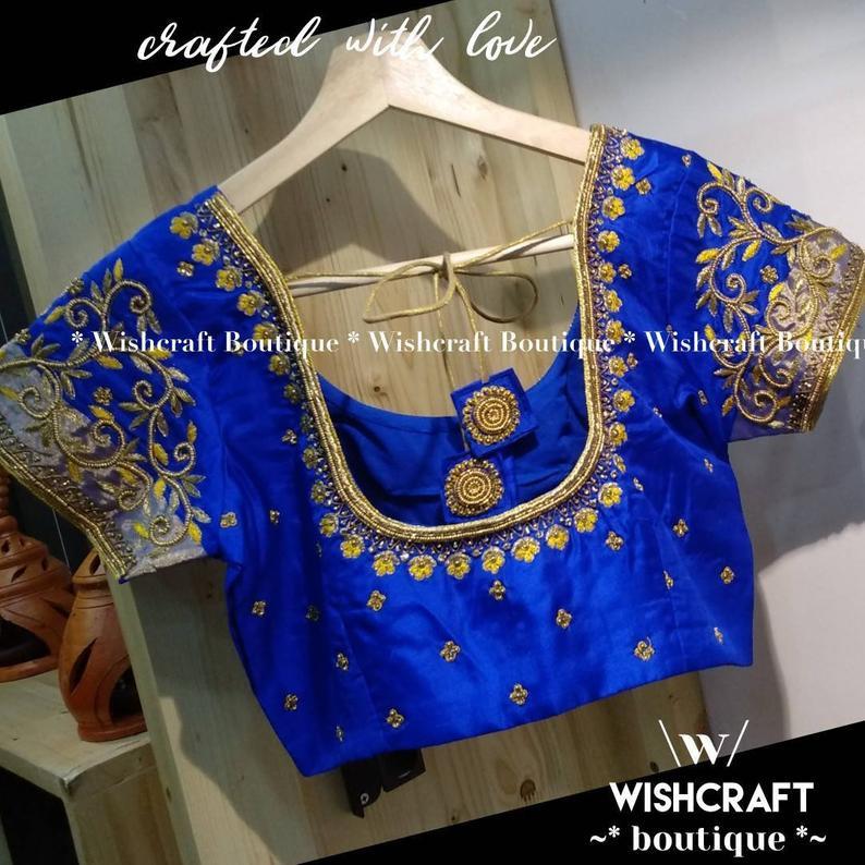 308 Designer work blouse in blue -back.j