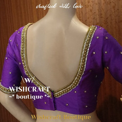 Purple saree blouse with maggam work - b