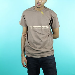 'Purplepeppa'  Logo's In Line Brown Tee With Logo's