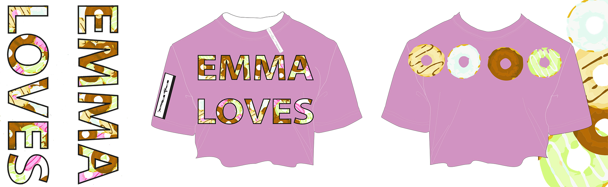 emma's donut crop top tee small