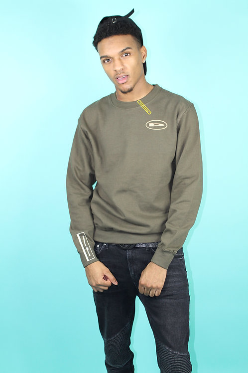 'Purplepeppa' Army Green  Round Logo Sweater