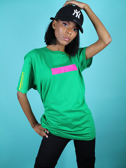 'Purplepeppa Logo's In Line Green Tee With Pink Line Lady