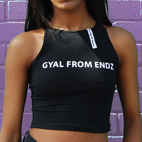 "Purplepeppa ""Gyal From Endz""Crop Top Black"