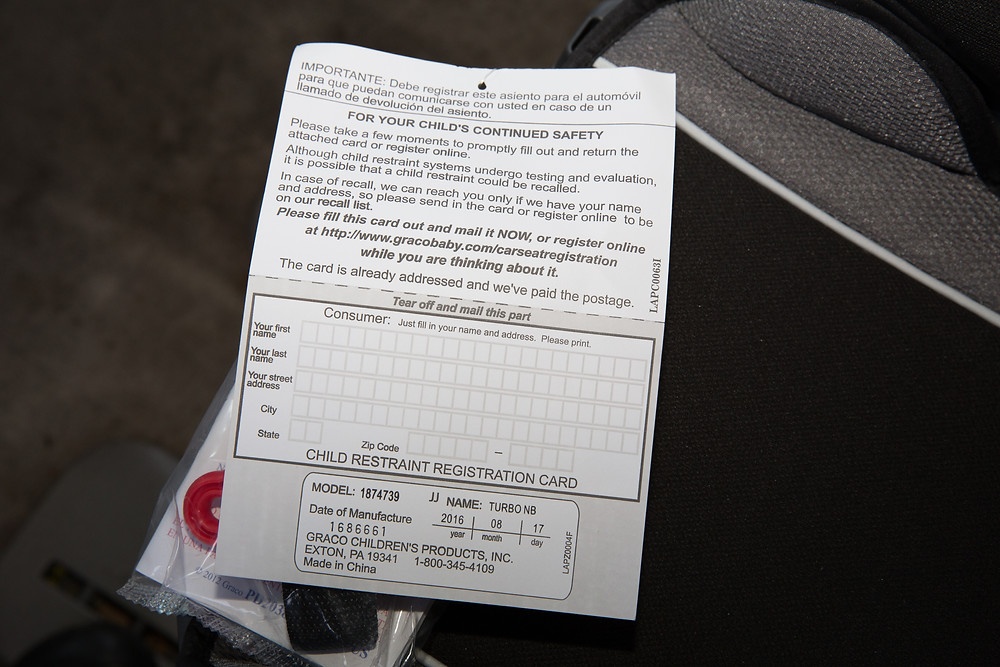 irvine car seat safety registration card