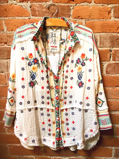 JohnnyWas Embroidered Cotton Top