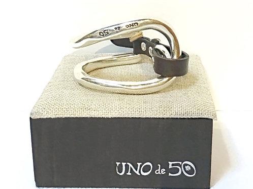 Uno de 50 Silver & Leather Bracelet