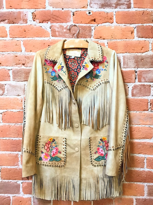 Tan Sueded Jacket w/ Bead Work