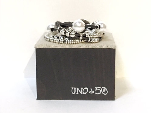 Uno de 50 Leather & Pearl Bracelet