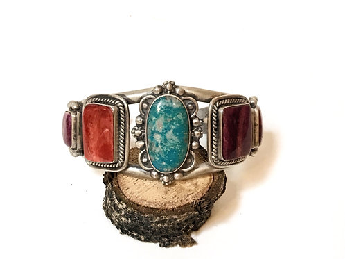 Sterling Silver with Fox Turquoise & Spiny Oyster Shell