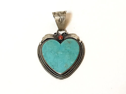 Sterling Silver & Turquoise Heart Pendant